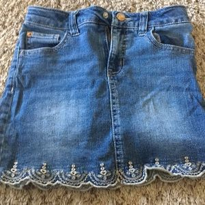 Girls embroidered jean skirt